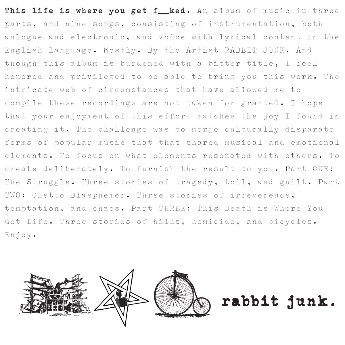 Fucked By Rabbit rabbit junk - this life is where you get fucked (full mp3 album)